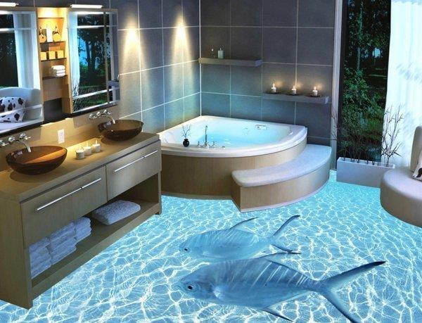 3D-Boden bietet Wow-Effekt im Badezimmer_Chinaorgcn - badezimmer bodenbelag