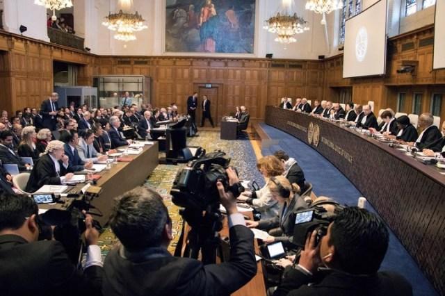 Vista general del comienzo de las vistas orales en el juicio que enfrenta a Chile y Bolivia ante la Corte Internacional de Justicia. EFE