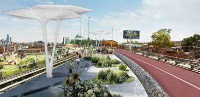 Proyecto. Así se verá el nuevo parque sobre la vieja autopista Illia a la altura de la Villa 31.