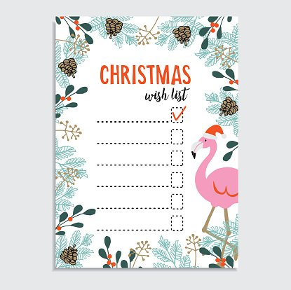 Cute Christmas Card, Wish Flamingo With Santa premium clipart - christmas wish list paper