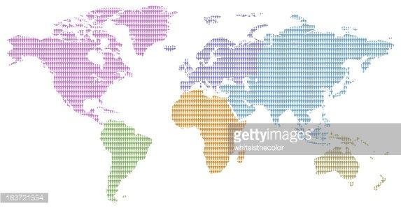 Os Homens DO Continente Africano Cores Padrão Mapa DO Mundo premium