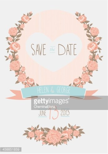 Save The Date Wedding Invitation, Shabby Chic Template Vector IL