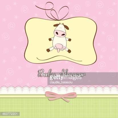 New Baby Girl Announcement Card With Cow premium clipart