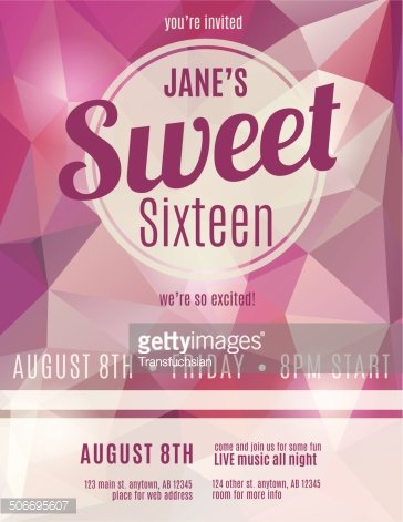 Sweet Sixteen Party Invitation Flyer Template Design premium clipart - invitation flyer template