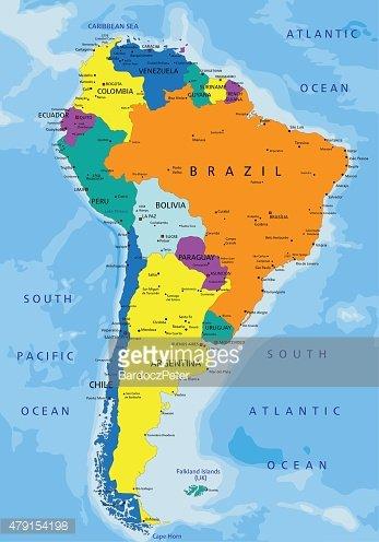 Renkli Güney Amerika Siyasi premium clipart - ClipartLogo - amerika haritasi