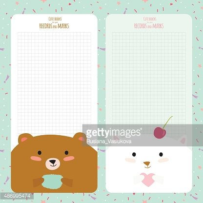 Template for School Notebook, Diary and Organizers premium clipart