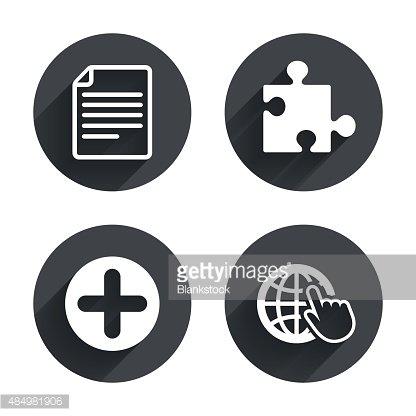 Plus Circle and Puzzle File, Globe premium clipart - ClipartLogo