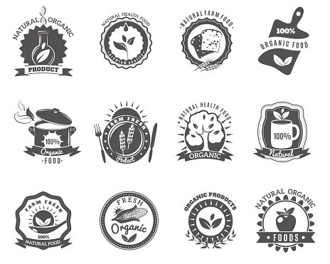 Organic Food Brands Labels Templates Set Black premium clipart