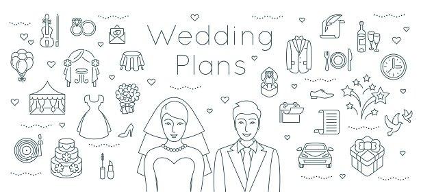 Wedding Plans Thin Line Flat Background premium clipart - wedding plans