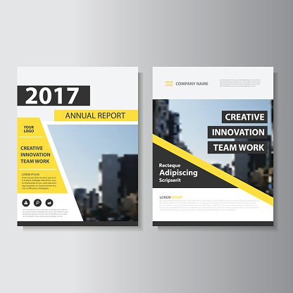 Yellow Black Vector Annual Report Leaflet Brochure Flyer Template - black flyer template