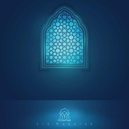 Eid Mubarak Greeting Card Template Mosque Window premium clipart
