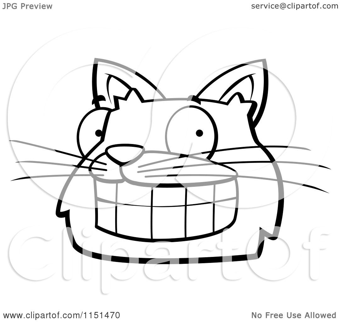 Cartoon Clipart Of A Black And White Grinning Cat Face