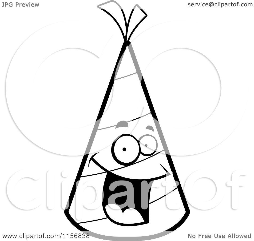 Party Hat Clipart Black And White Cartoon Clipart Of A Black And White Happy Smiling Party Hat