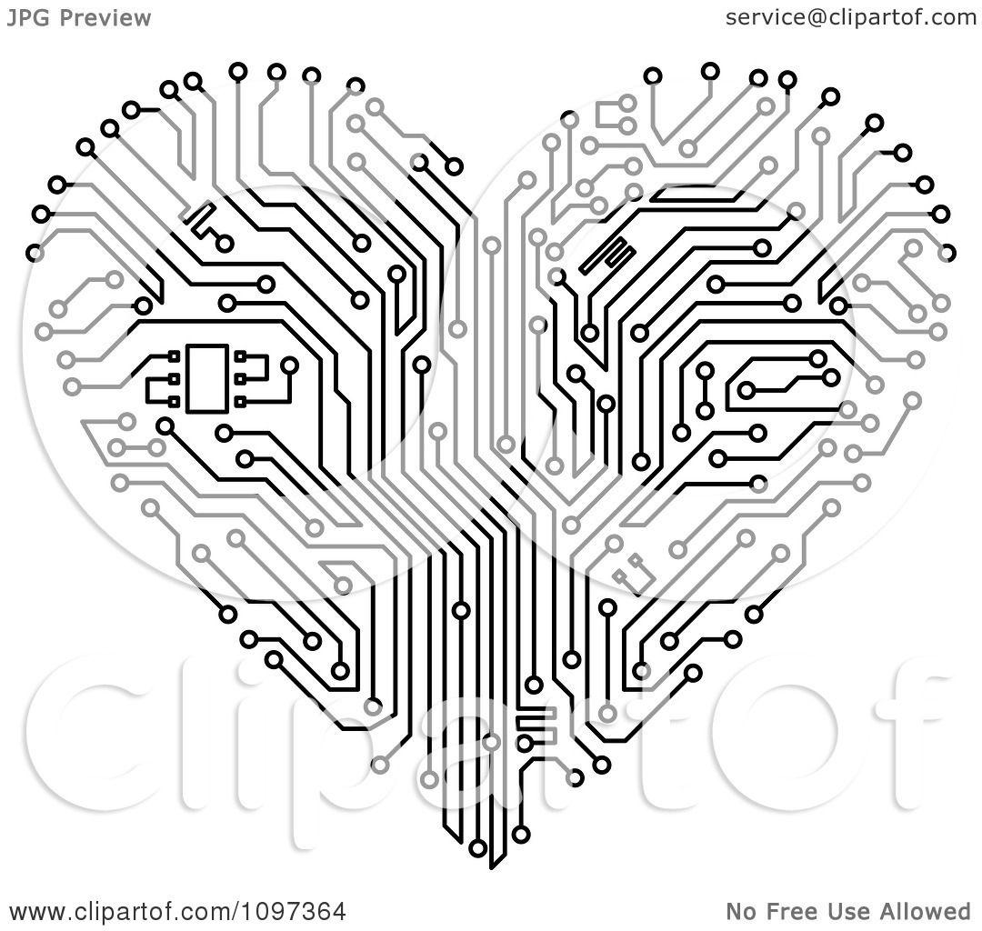 white circuit board heart