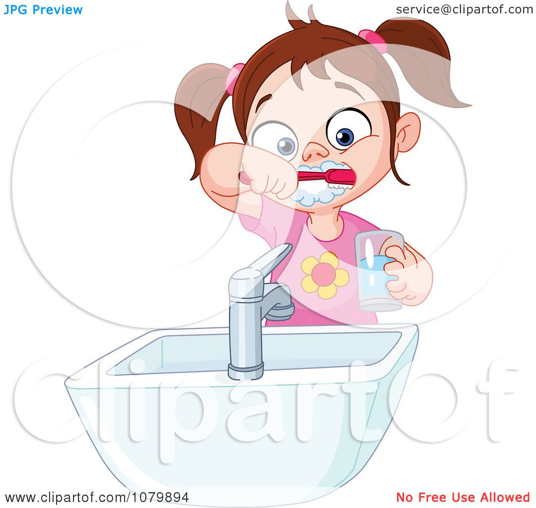 Clipart Brunette Girl Brushing Her Teeth Over A Sink