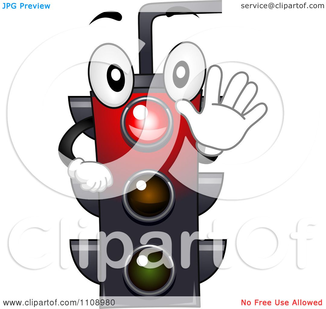 Clipart Happy Traffic Light Mascot Shining Red Royalty - Rote Ampel Clipart