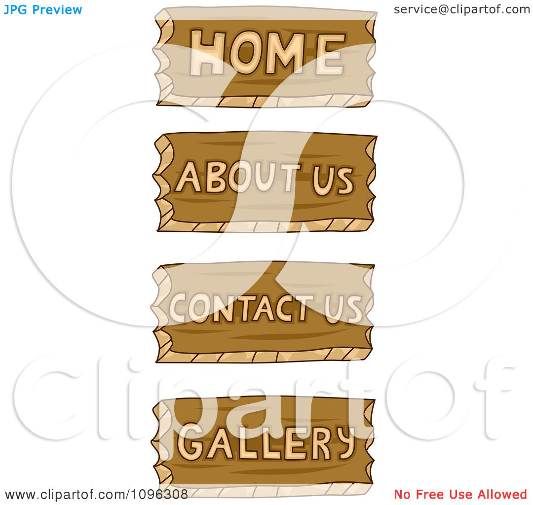 Clipart home about us contact us and gallery wood carved icons royalty free vector illustration by bnp design studio