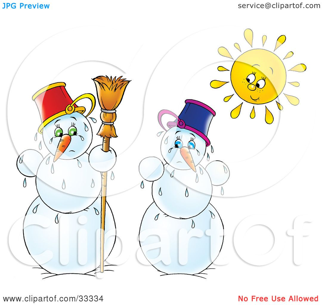 Royalty Free Rf Melting Snowman Clipart Illustrations Vector Graphics 1
