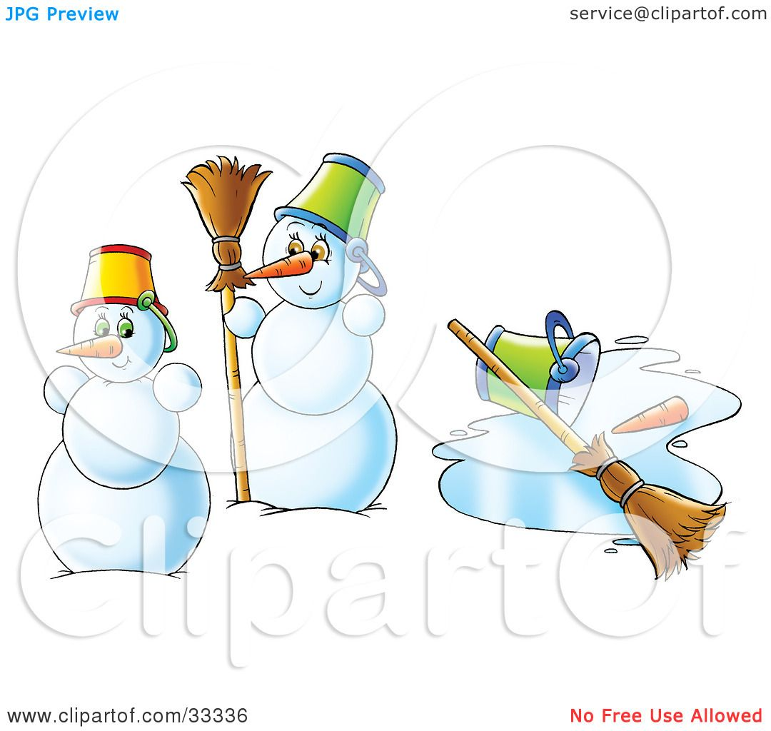 Clipart Illustration Of Two Snowmen Near A Melted Snowman By Alex Bannykh 33336