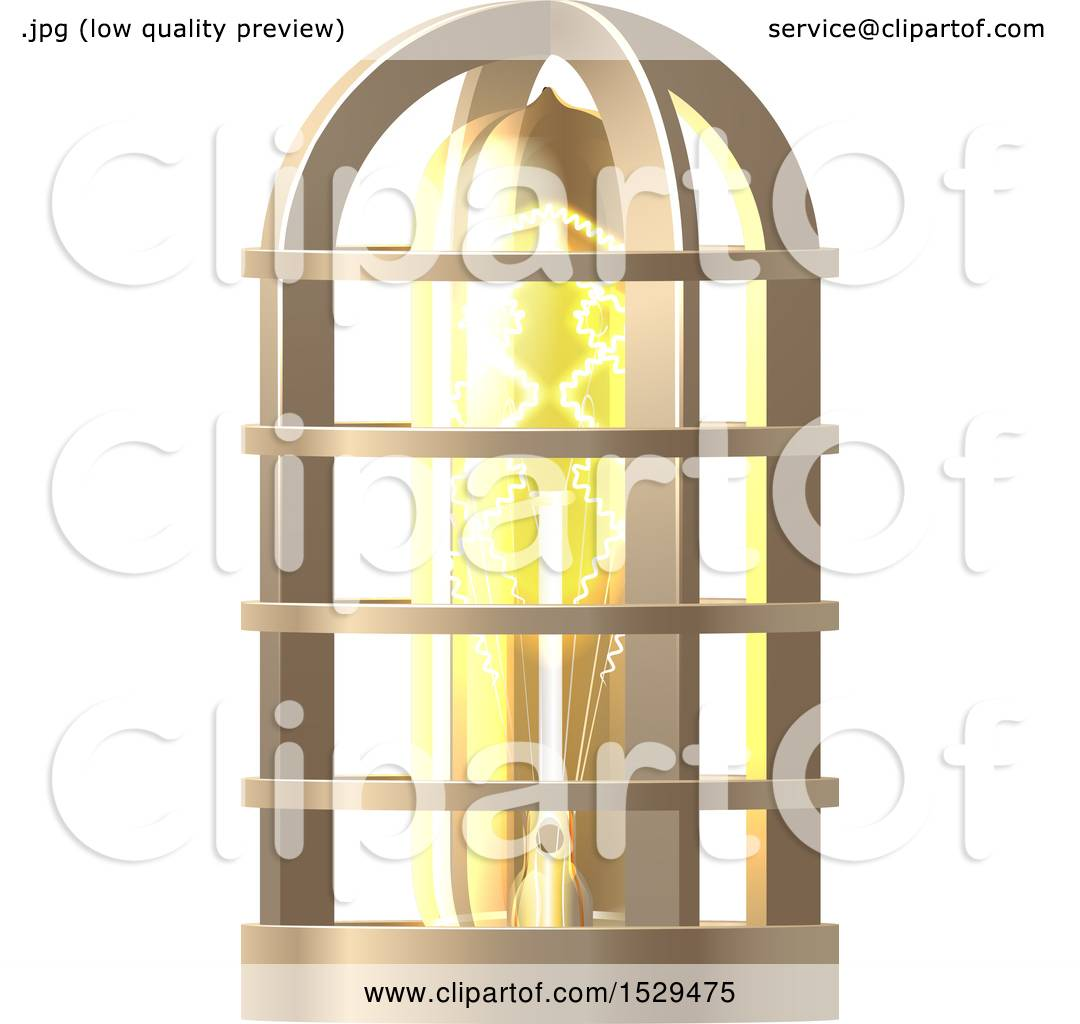 Glass Lamp Vector Clipart Of A 3d Vintage Steampunk Electric Light Bulb Lamp