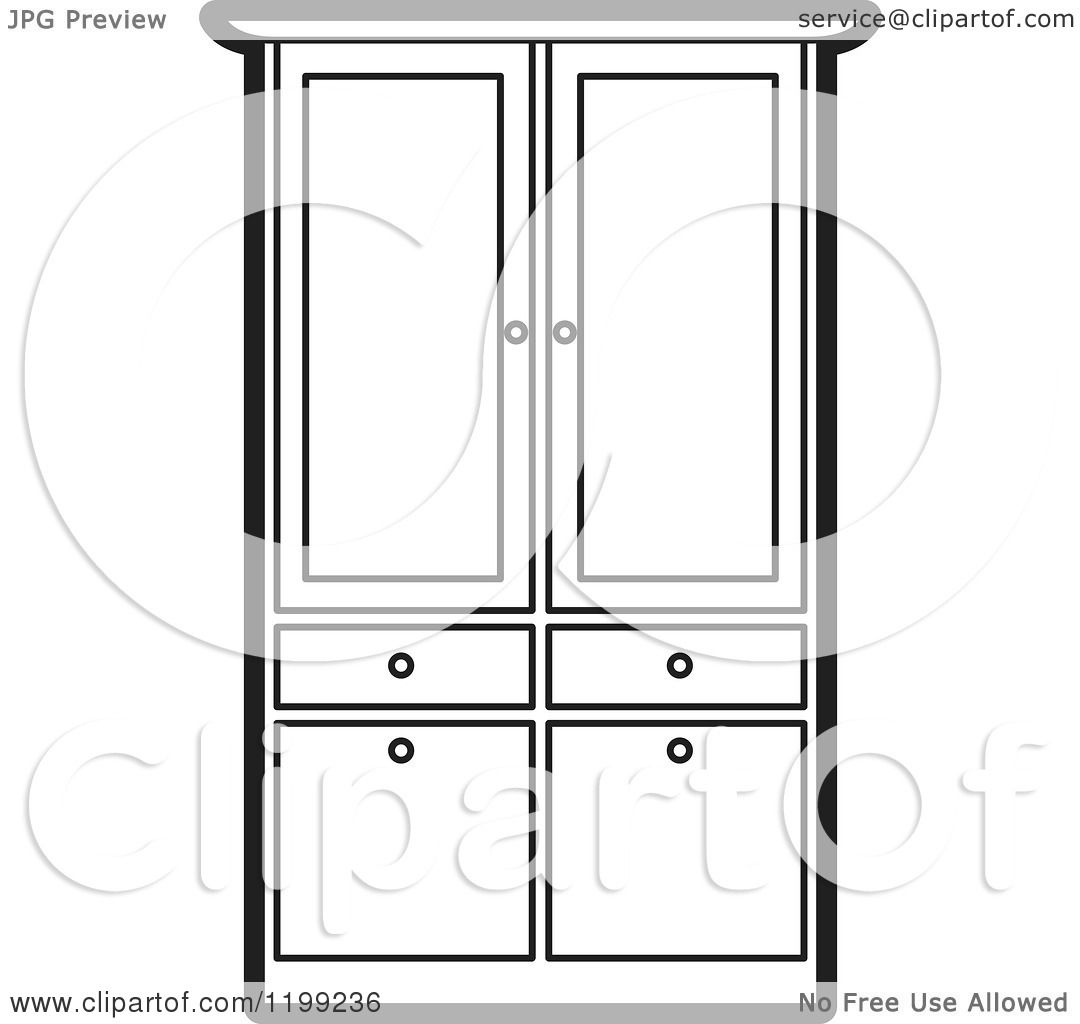 Clipart Of A Black And White Armoire Wardrobe Royalty