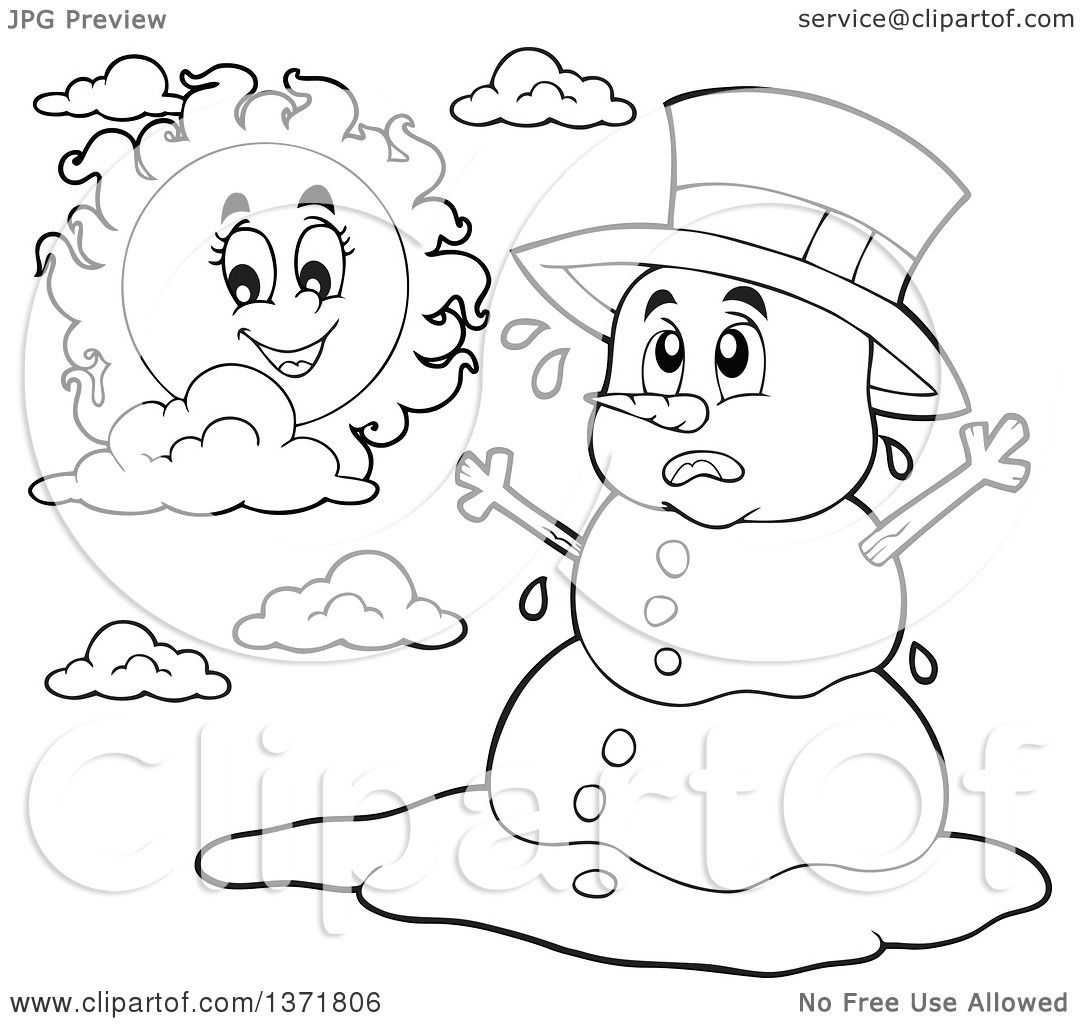 Clipart Of A Black And White Christmas Snowman Melting Under The Shining Sun Royalty Free Vector Illustration By Visekart 1371806