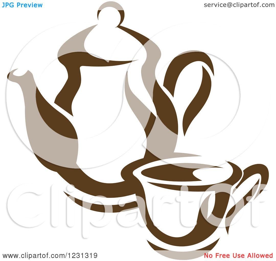 Free Clip Art Coffee Urn Clipart Of A Brown Tea Or Coffee Pot With A Cup Royalty