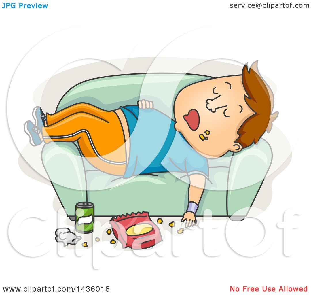 Sofa Workout Clipart Of A Cartoon Fat Brunette White Man In Workout Clothes