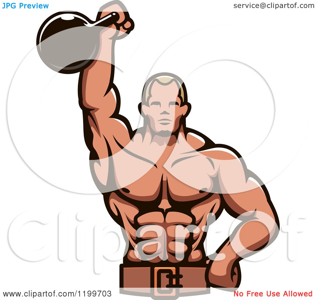 Kettlebell Bodybuilding Clipart Of A Male Bodybuilder Using A Kettlebell For Tricep