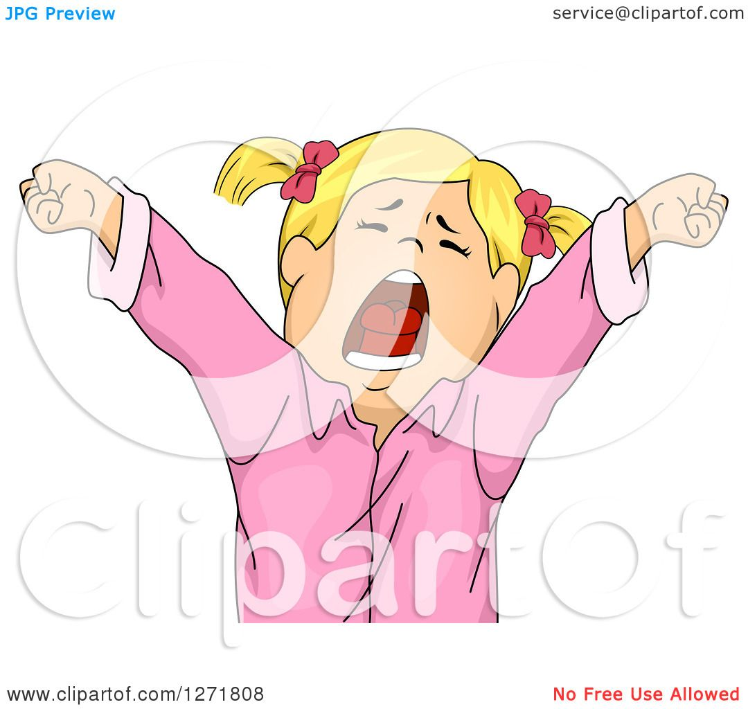 Clipart Of A Tired Blond White Girl Stretching And Yawning Royalty Free Vector Illustration By Bnp Design Studio 1271808