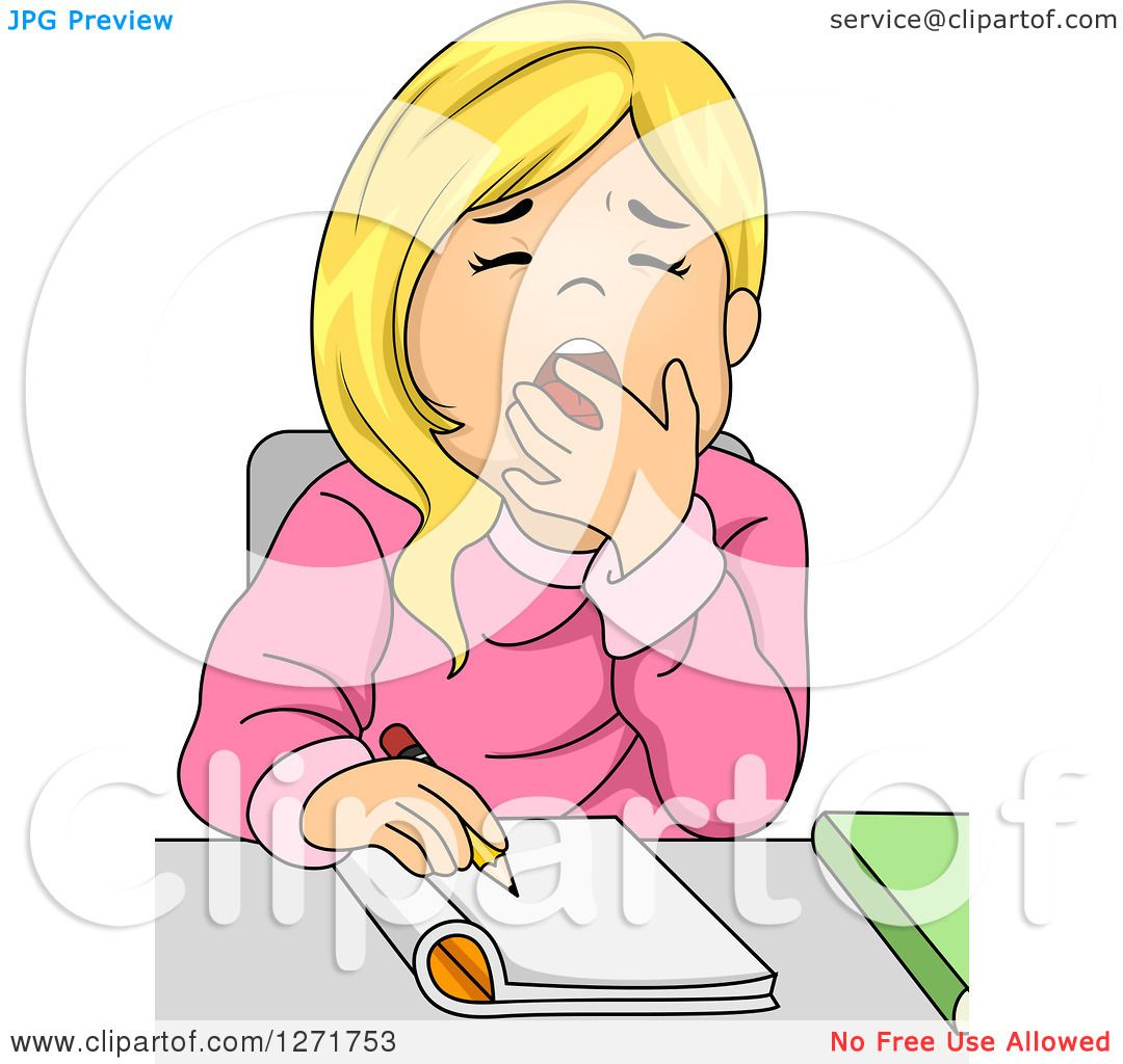 Clipart Of A Tired Blond White School Girl Yawning While Writing At Her Desk Royalty Free Vector Illustration By Bnp Design Studio 1271753