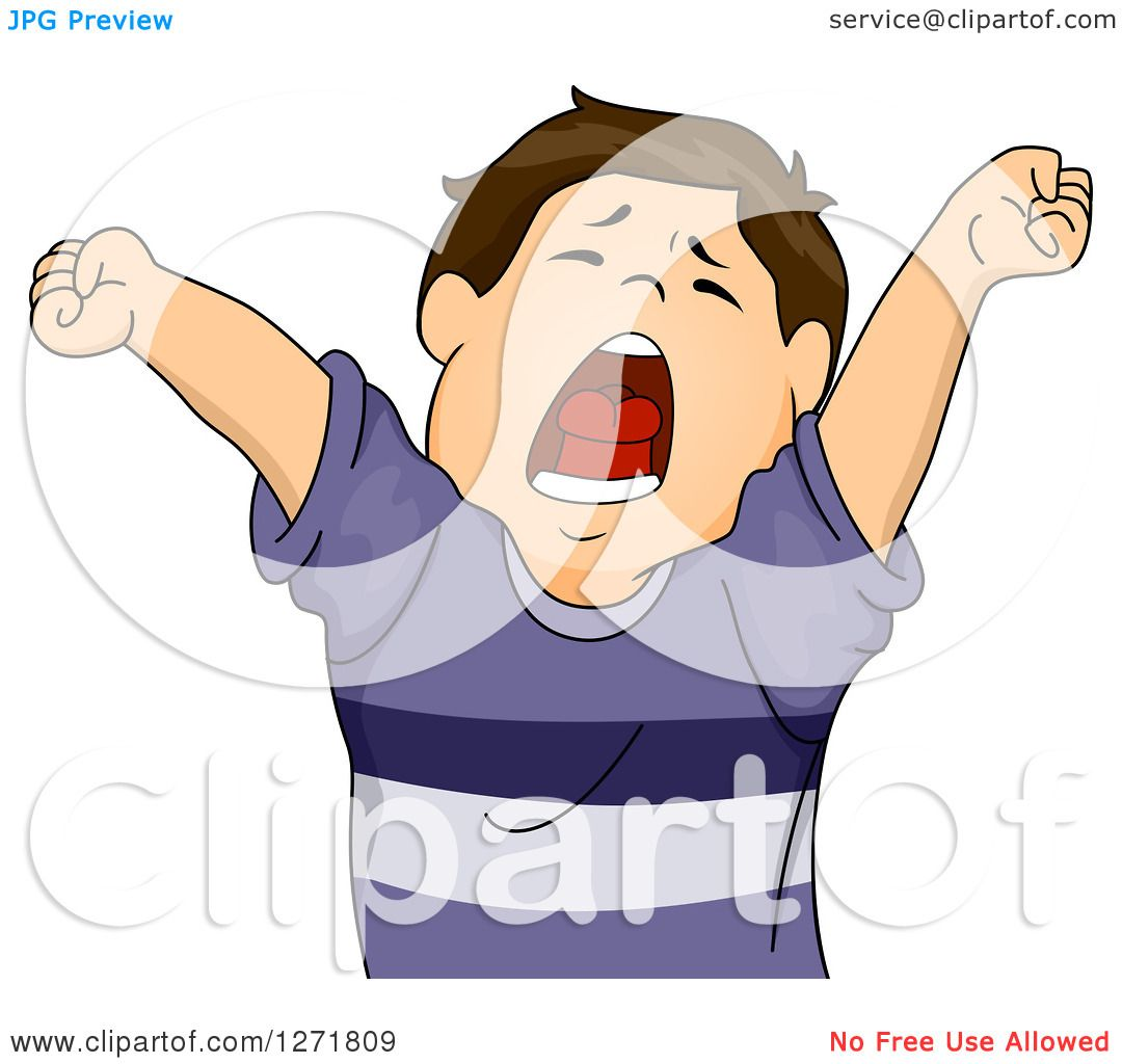 Clipart Of A Tired Brunette White Boy Stretching And Yawning Royalty Free Vector Illustration By Bnp Design Studio 1271809
