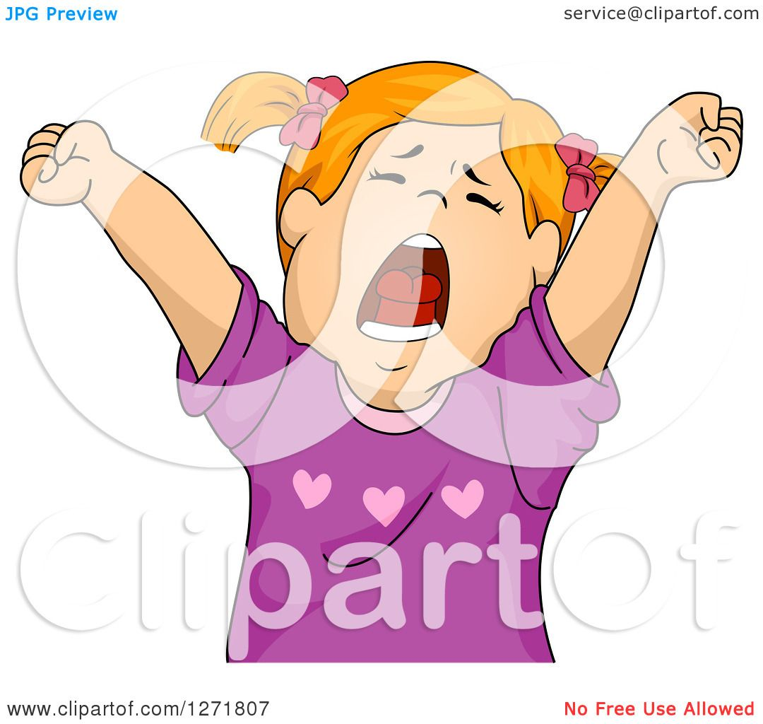 Clipart Of A Tired Red Haired White Girl Stretching And Yawning Royalty Free Vector Illustration By Bnp Design Studio 1271807