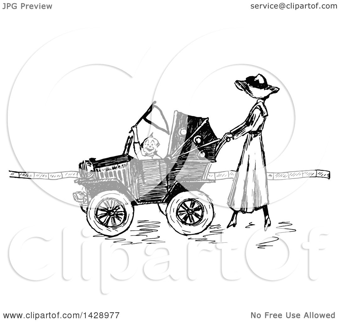 Baby Stroller Clipart Black And White Clipart Of A Vintage Black And White Sketched Woman