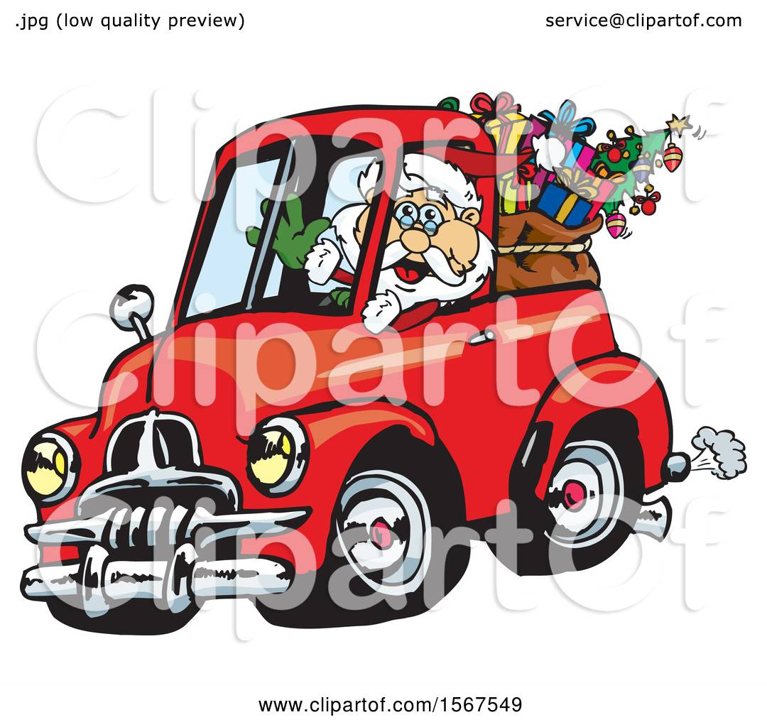 Trabant Clipart Clipart Of Santa Claus Driving A Vintage Holden Fj Ute With A