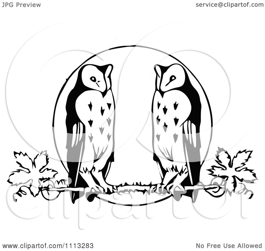 Full Moon Drawing Black And White Clipart Vintage Black And White Owls Perched Against A Full Moon