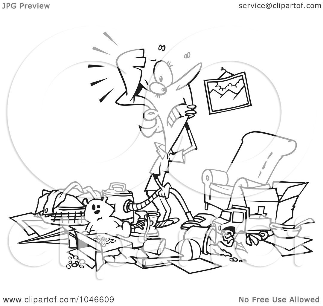 Living room clipart black and white - Woman With A Messy Living Room Living Room Room Clipart Black And White