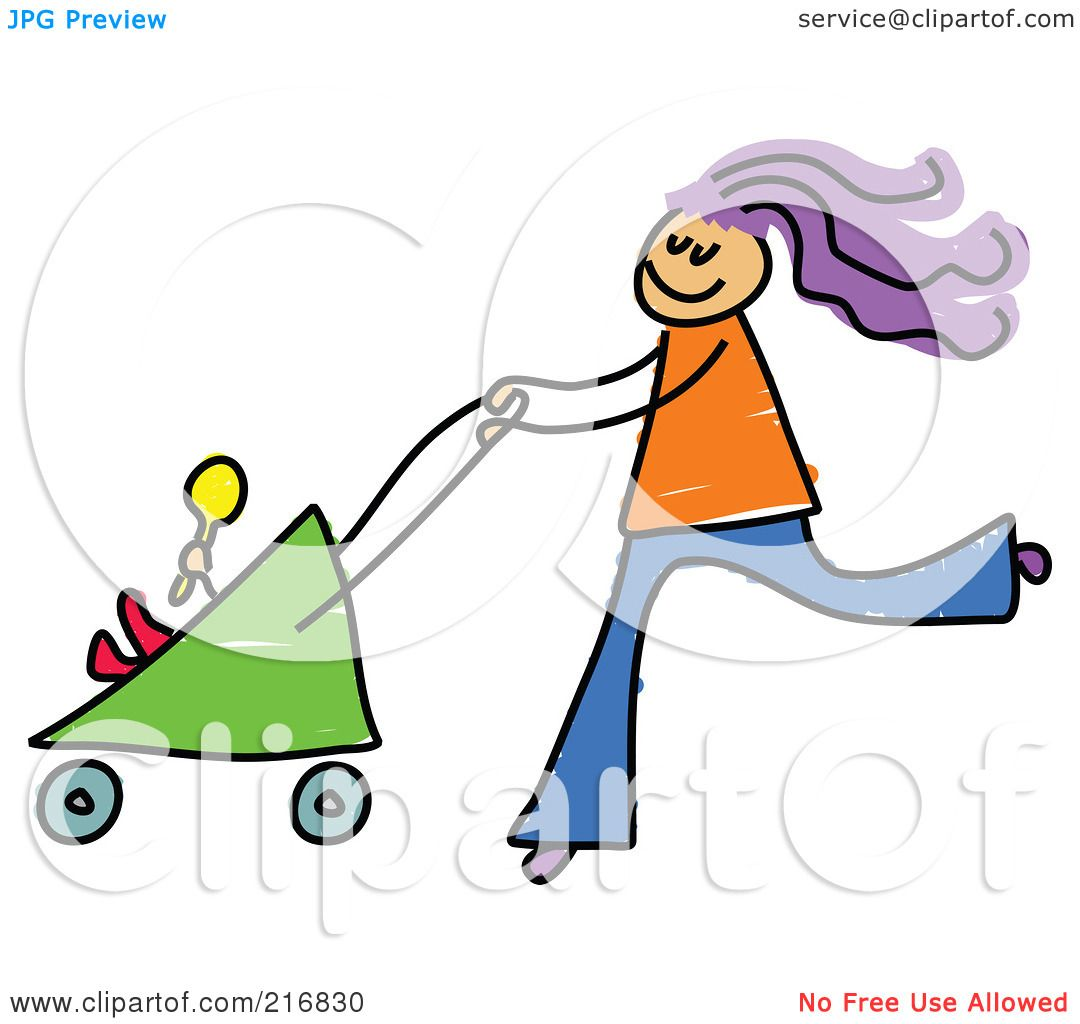 Baby Stroller Clipart Black And White Royalty Free Rf Clipart Illustration Of A Childs Sketch