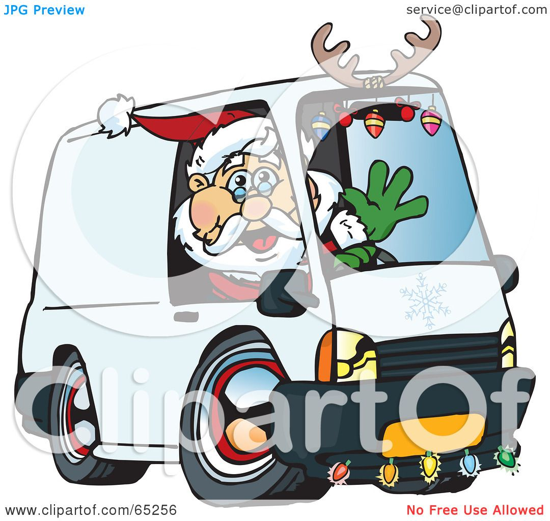 Trabant Clipart Royalty Free Rf Clipart Illustration Of A Friendly Santa Driving