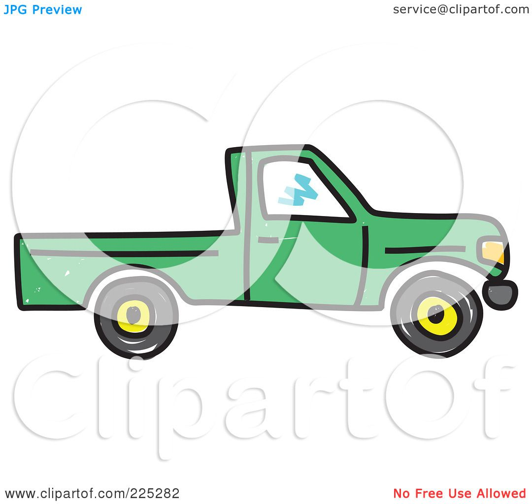 Royalty free rf clipart illustration of a green pickup truck by prawny