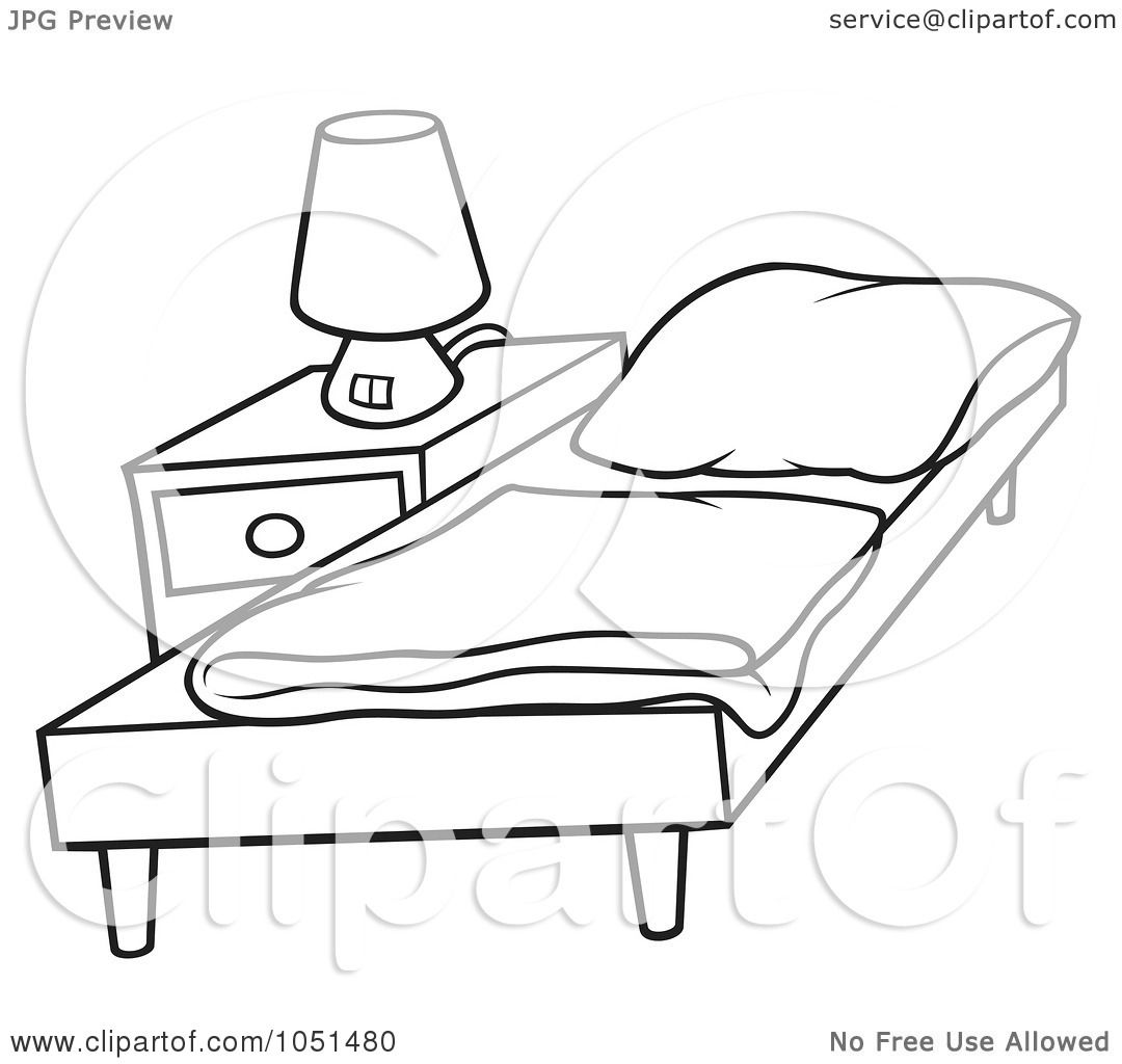 Night Table Clipart Royalty Free Vector Clip Art Illustration Of An Outline Of
