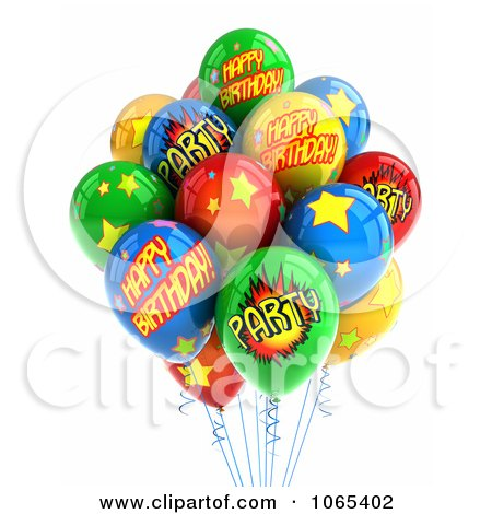 3d Happy Birthday Helium Party Balloons 2 Posters, Art Prints by