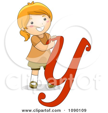Clipart Letter Y Girl Child - Royalty Free Vector Illustration by - child letter