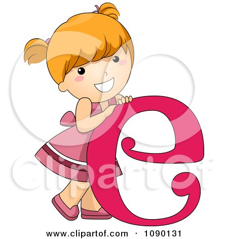 Clipart Letter E Girl Child - Royalty Free Vector Illustration by - child letter