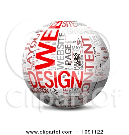 Clipart 3d Web Design Word Globe - Royalty Free CGI Illustration by