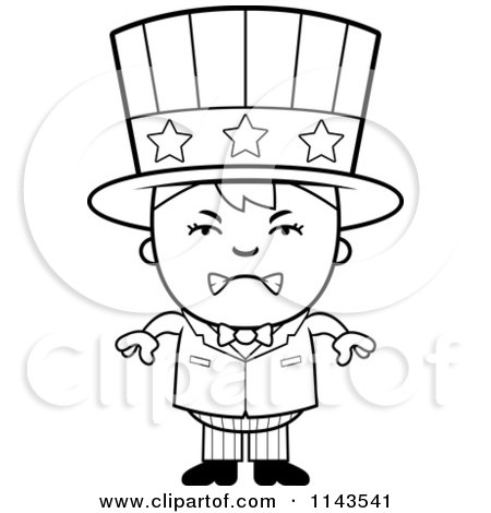 Cartoon Clipart Of A Black And White Mad Uncle Sam Boy - Vector