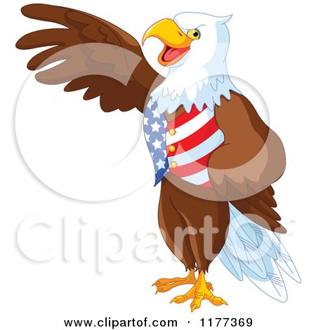 Patriotic American Bald Eagle Presenting and Wearing a USA Vest