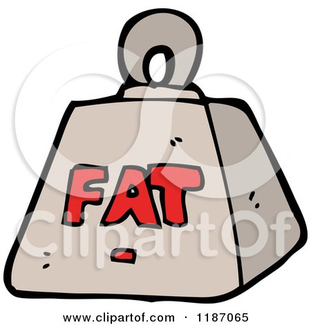 Cartoon of a Weight with the Word Fat - Royalty Free Vector