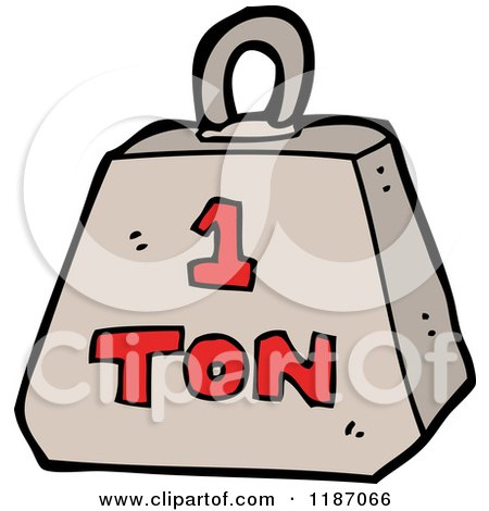 Cartoon of a Weight with the Word 1 Ton - Royalty Free Vector