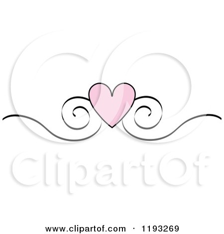 Clipart Of A Pink Heart And Black Scroll Design Edge Border